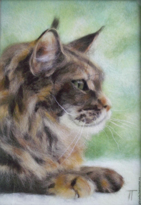 """""""Мейн-кун"""" картина из шерсти. Авторская работа. Портрет по фото, Картины, Кострома,  Фото №1"""