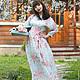 Платья ручной работы. Длинное шелковое платье Утро в саду. Сны о незабудке (snyonezabudke). Ярмарка Мастеров. Лето, шелковое платье