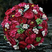 Цветы и флористика handmade. Livemaster - original item A bouquet of luxurious Marsala from Japanese clay. Handmade.