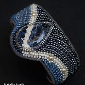 Украшения handmade. Livemaster - original item Beaded bracelet with gemstone The deep sea white blue. Handmade.