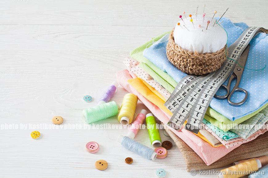 Фото швейных принадлежностей и хлопковых тканей в пастельных тонах, Фотографии, Хабаровск,  Фото №1
