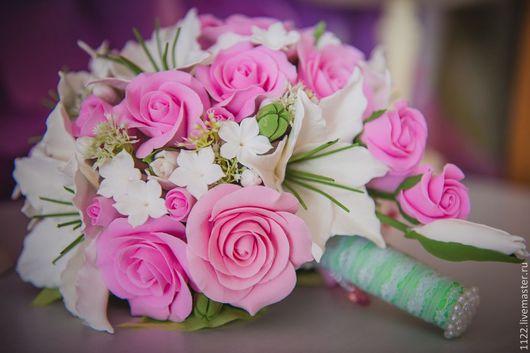 Свадебные цветы ручной работы. Ярмарка Мастеров - ручная работа. Купить Свадебный букет с лилиями и розами. Handmade. Розовый