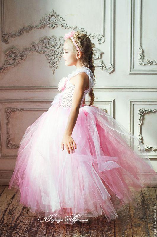 """Одежда для девочек, ручной работы. Ярмарка Мастеров - ручная работа. Купить Детское платье """"Нежно-розовый/молочный"""". Handmade. Платье для выпускного"""