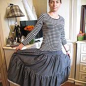 Одежда ручной работы. Ярмарка Мастеров - ручная работа Юбка  джинс горохи. Handmade.