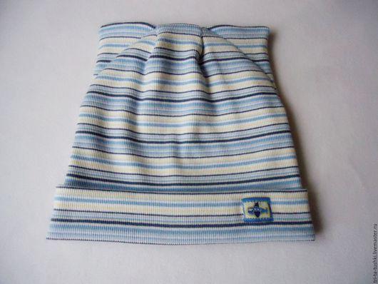 Шапки и шарфы ручной работы. Ярмарка Мастеров - ручная работа. Купить Двойная шапочка с ушками для мальчика в голубую полоску. Handmade.