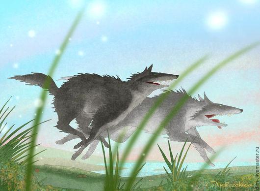 """Животные ручной работы. Ярмарка Мастеров - ручная работа. Купить """"Бегущие волки, конец лета""""  авторский принт. Handmade."""