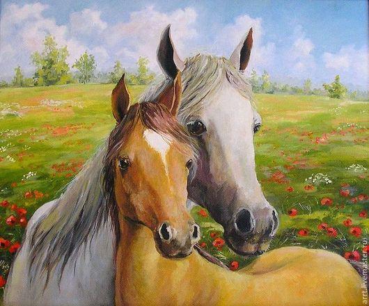Животные ручной работы. Ярмарка Мастеров - ручная работа. Купить Лошадь и жеребенок Принт Картина холст масло. Handmade. Лошадь