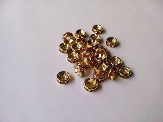 Для украшений ручной работы. Ярмарка Мастеров - ручная работа. Купить Рондели со стразами, под золото 6 мм. Handmade.