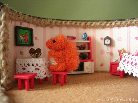 """Кукольный дом ручной работы. Ярмарка Мастеров - ручная работа. Купить Румбокс """"Белкино дупло"""". Handmade. Рыжий, миниатюра, бумага"""