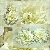 Для дома и интерьера ручной работы. Ярмарка Мастеров - ручная работа Канзаши. Пара крупных цветков на подвязы для штор. Цветы из ткани. Handmade.