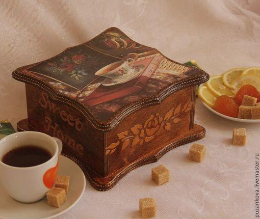 """Кухня ручной работы. Ярмарка Мастеров - ручная работа. Купить Чайная шкатулка """"Вечерний чай"""". Handmade. Коричневый, чай"""