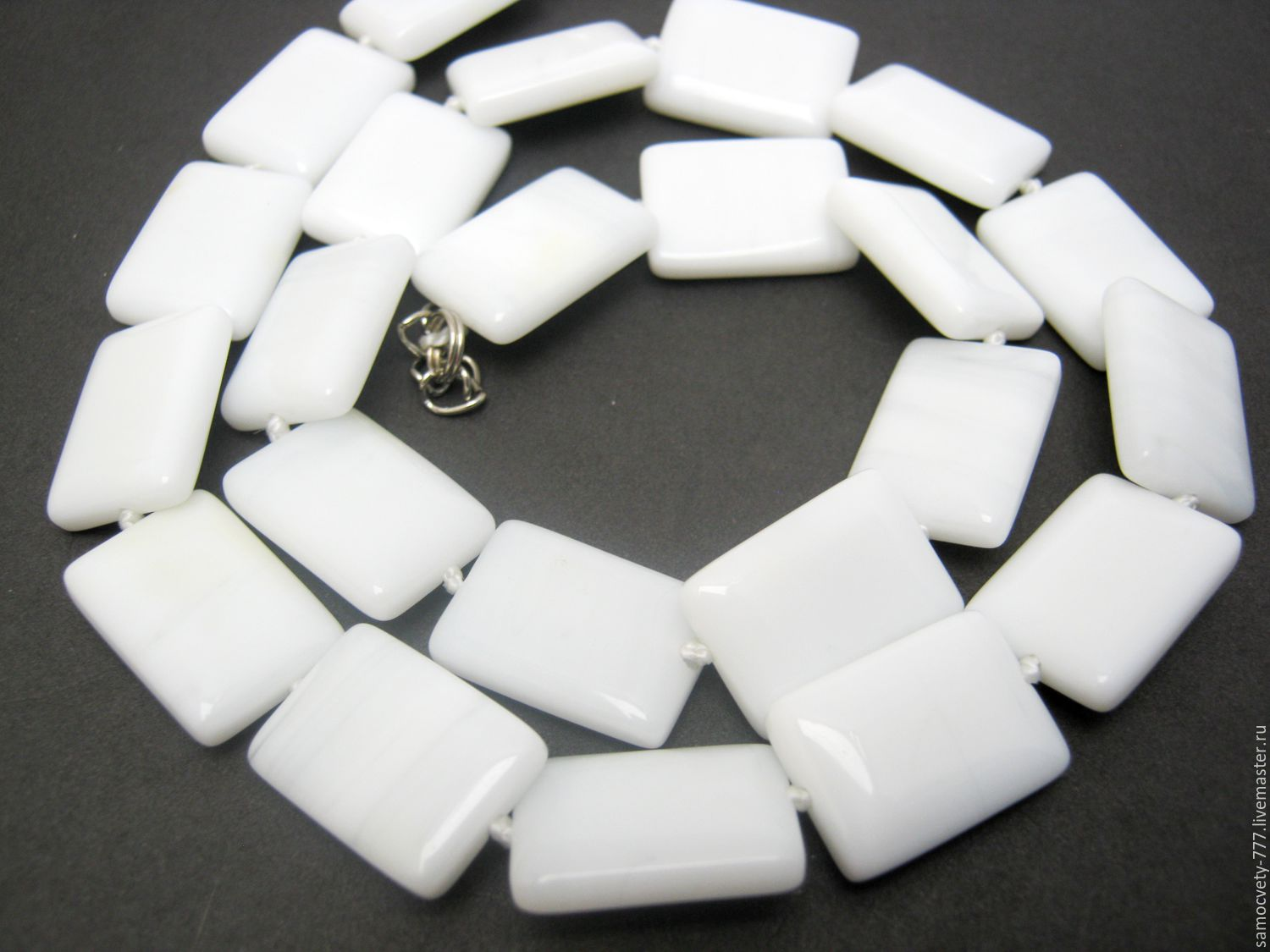 Beads made of natural stone'White agate', Necklace, Feodosia,  Фото №1