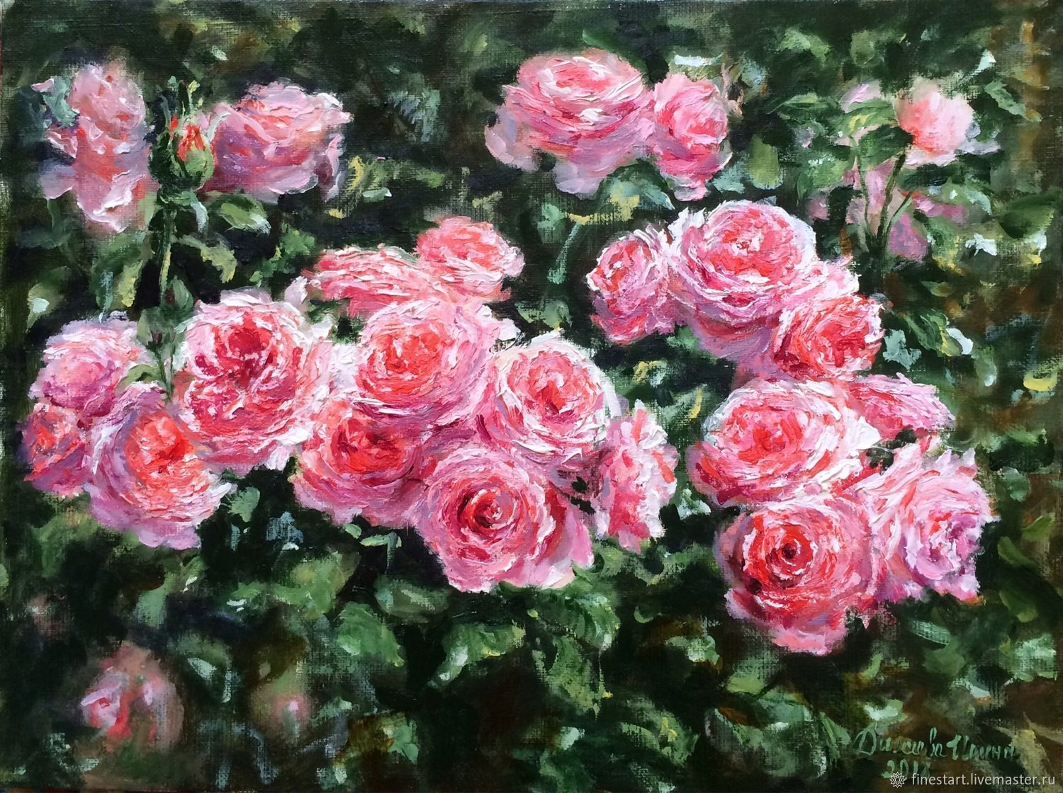 Roses In Garden: Oil Painting Sun In The Rose Garden Impressionism