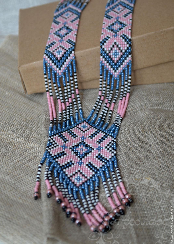 gerdan (gaitan) of beads 'denim pattern', Necklace, Kasimov,  Фото №1