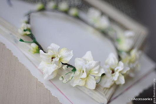 """Свадебные украшения ручной работы. Ярмарка Мастеров - ручная работа. Купить Свадебный венок """"Нежное касание"""" , для фотосессии. Handmade. Белый"""