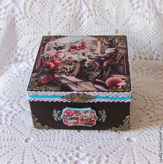 """Шкатулки ручной работы. Ярмарка Мастеров - ручная работа. Купить Шкатулка для чайных пакетиков """" Кошачьи посиделки """". Handmade."""
