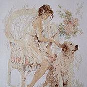 """Картины и панно ручной работы. Ярмарка Мастеров - ручная работа Вышивка крестом """"Девушка с собакой"""". Handmade."""