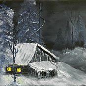 Картины и панно ручной работы. Ярмарка Мастеров - ручная работа Пейзаж маслом Ночь под Рождество.Пейзаж. Handmade.