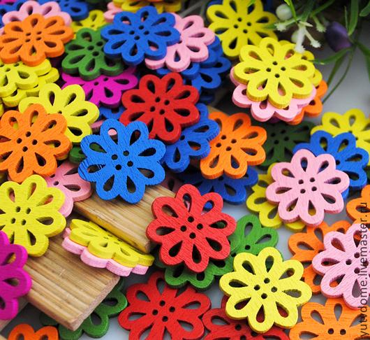 """Шитье ручной работы. Ярмарка Мастеров - ручная работа. Купить 0429 Пуговицы деревянные """"Цветы"""" 7 цветов. Handmade. Дерево"""