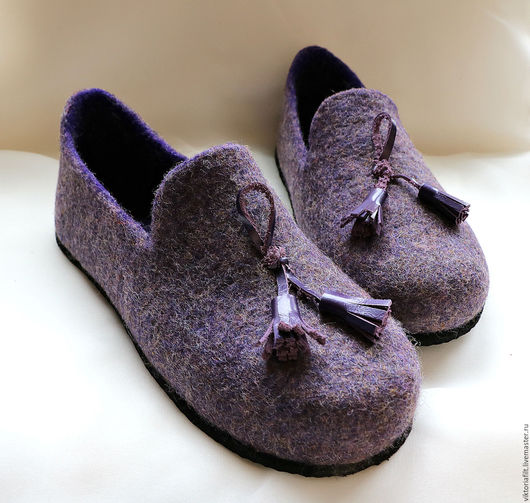 Обувь ручной работы. Ярмарка Мастеров - ручная работа. Купить Валяные женские туфельки.. Handmade. Тёмно-фиолетовый, женская обувь