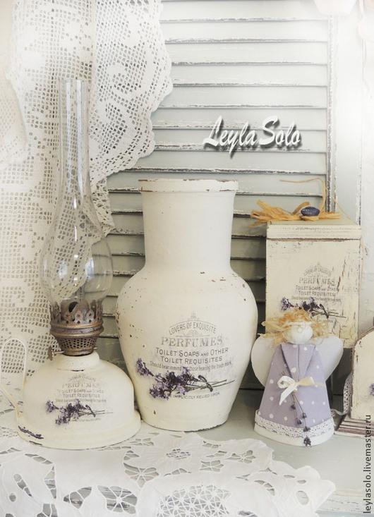 Вазы ручной работы. Ярмарка Мастеров - ручная работа. Купить Крынка ваза  Лаванда на белом Люблю прованс. Handmade. Белый