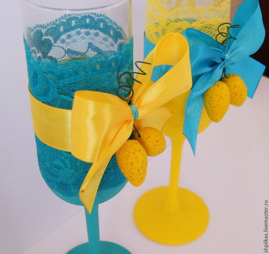 Свадебные аксессуары ручной работы. Ярмарка Мастеров - ручная работа. Купить Свадебные бокалы на лимонную свадьбу. Handmade. Бирюзовый