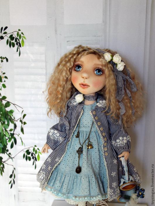 Коллекционные куклы ручной работы. Ярмарка Мастеров - ручная работа. Купить Кукла текстильная Софи!. Handmade. Голубой, кукла текстильная