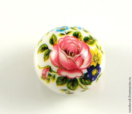 """Для украшений ручной работы. Ярмарка Мастеров - ручная работа. Купить 26-О/Р  Бусины Тенша """"Розы на белом"""" 14 мм. Handmade."""