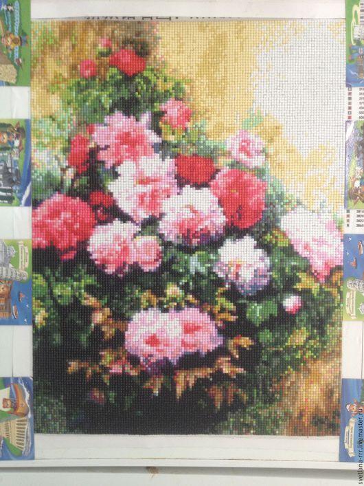Картины цветов ручной работы. Ярмарка Мастеров - ручная работа. Купить Пионы. Handmade. Комбинированный, алмазная мозаика, алмазная живопись