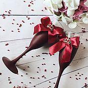 Свадебный салон ручной работы. Ярмарка Мастеров - ручная работа Свадебные фужеры, Свадебные бокалы, Свадьба марсала. Handmade.