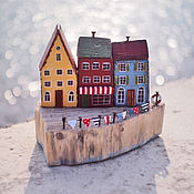 """Для дома и интерьера ручной работы. Ярмарка Мастеров - ручная работа Морская композиция """"Домики на берегу"""" driftwood. Handmade."""