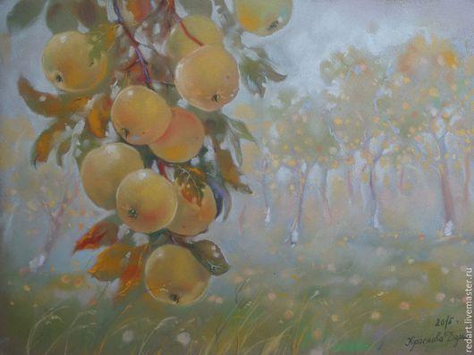 Пейзаж ручной работы. Ярмарка Мастеров - ручная работа. Купить Яблочный туман. Handmade. Желтый, яблоки, яблочный спас, пейзаж