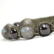 Украшения handmade. Livemaster - original item Shamballa bracelet with labradorite and garnet suede. Handmade.
