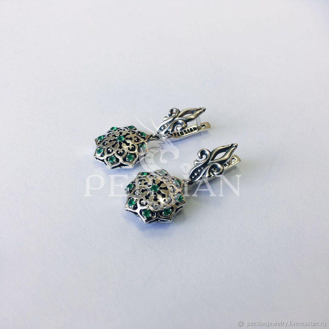 Silver earrings with green agate, Earrings, Sevastopol,  Фото №1