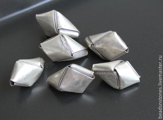 Для украшений ручной работы. Ярмарка Мастеров - ручная работа. Купить Бусина оригами бол (серебро) - КВ212. Handmade. Серебряный