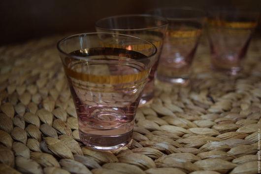 Винтажная посуда. Ярмарка Мастеров - ручная работа. Купить Стопочки из марганцевого стекла.. Handmade. Брусничный, стопки, рюмки купить, для водки