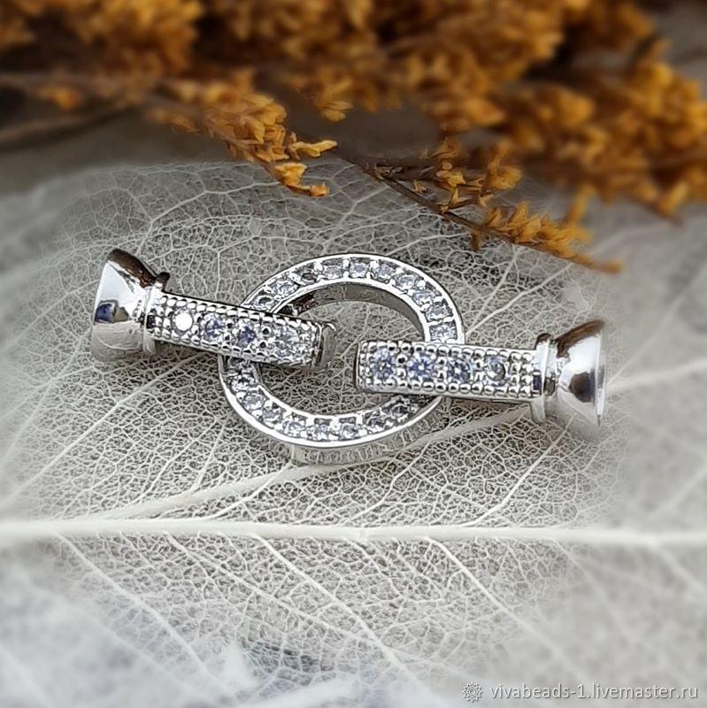 Lock with zircons about 27 mm platinum (3854), Accessories4, Voronezh,  Фото №1