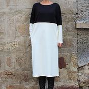 Одежда ручной работы. Ярмарка Мастеров - ручная работа Черно-белое элегантное коктейльное макси миди платье с длинным рукавом. Handmade.