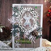 Открытки handmade. Livemaster - original item !Postcard MERRY Christmas with deer. Handmade.