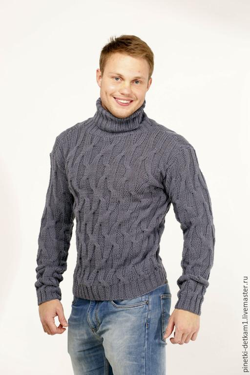 Для мужчин, ручной работы. Ярмарка Мастеров - ручная работа. Купить Мужской свитер Волна_серебряный. Подарок мужчине. Handmade. Серый
