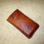 Сумки и аксессуары handmade. Livemaster - original item Phone case made of genuine leather. blue. red. Handmade.