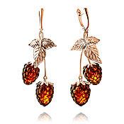 handmade. Livemaster - original item Silver berry earrings with natural amber 2 colors. Handmade.