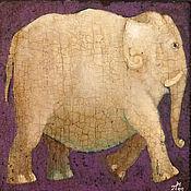 """Картины ручной работы. Ярмарка Мастеров - ручная работа """"Белый слон"""", авторская печать. Handmade."""