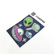 """Дизайн и реклама ручной работы. Ярмарка Мастеров - ручная работа стикеры """"Космос"""". Handmade."""