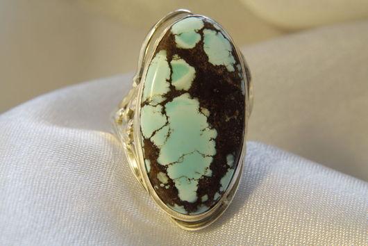 Кольца ручной работы. Ярмарка Мастеров - ручная работа. Купить Перстень из серебра с натуральной бирюзой. Handmade. Бирюзовый, серебряное украшение