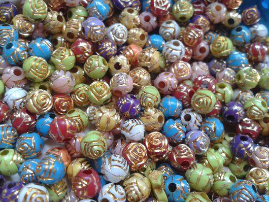 Другие виды рукоделия ручной работы. Ярмарка Мастеров - ручная работа. Купить Бусины Розы  6 мм. Handmade. Комбинированный