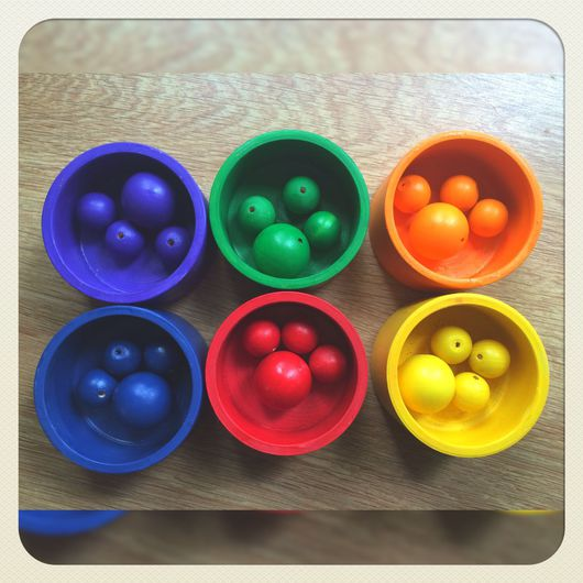 """Развивающие игрушки ручной работы. Ярмарка Мастеров - ручная работа. Купить Сортер """"разноцветные баночки"""". Handmade. Сортер, деревянные игрушки"""