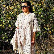 Платье свободного кроя из хлопкового гипюра и кружева (101)