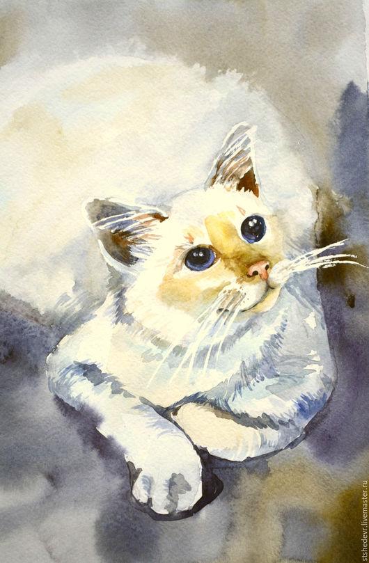 """Животные ручной работы. Ярмарка Мастеров - ручная работа. Купить Акварельная картина  """"Белая кошка"""". Handmade. Белый, серый цвет"""