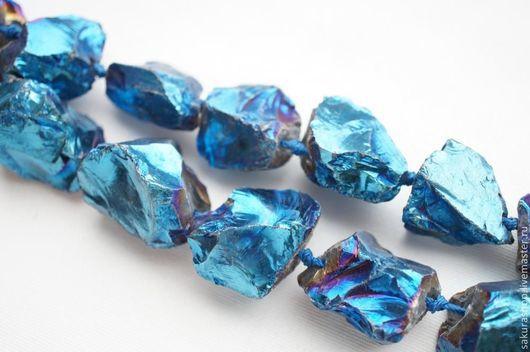 Для украшений ручной работы. Ярмарка Мастеров - ручная работа. Купить Кварц покрытый титаном наггет цвет синий бензин 28х25мм. Handmade.